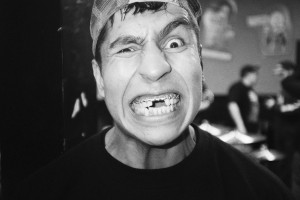 Walter Delgado of Rotting Out with makeup.