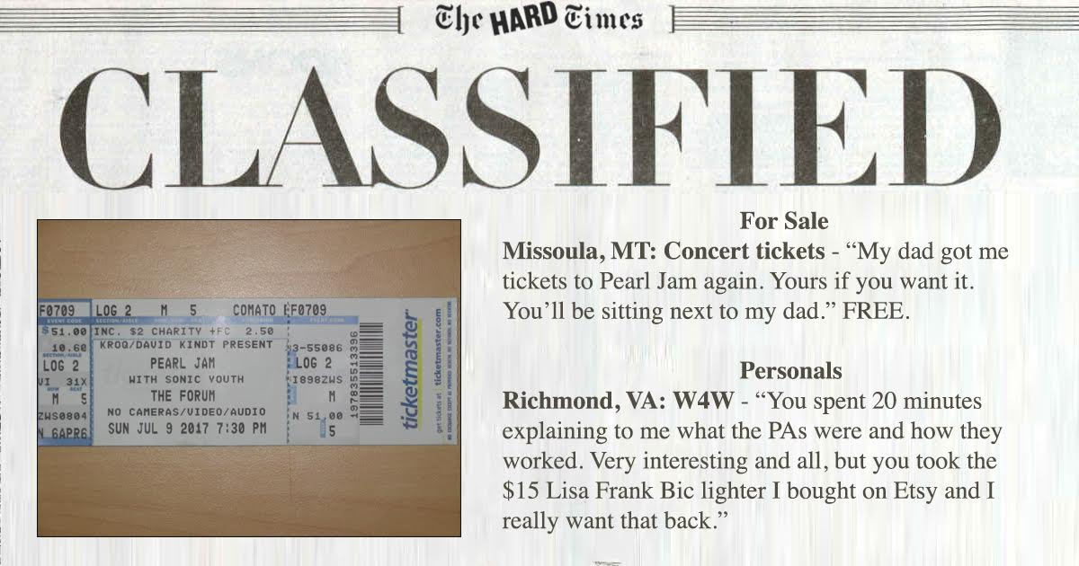 Classifieds: Roadie Love, Pearl Jam Dad and Punk Rock Classics