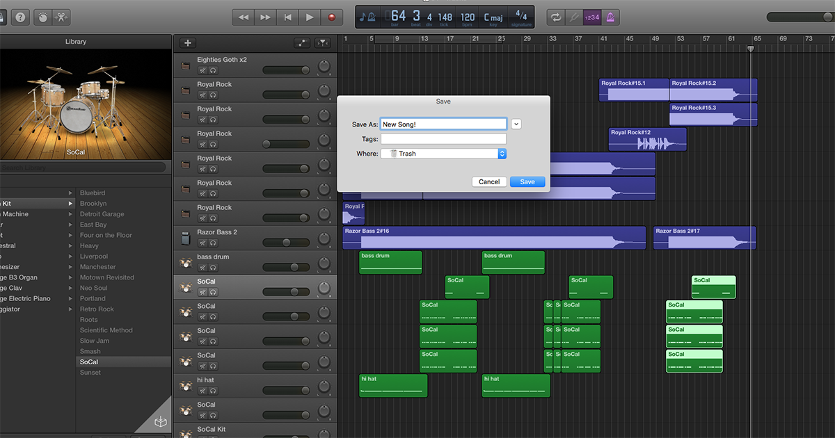 New Version of GarageBand Exports Songs Straight Into Trash