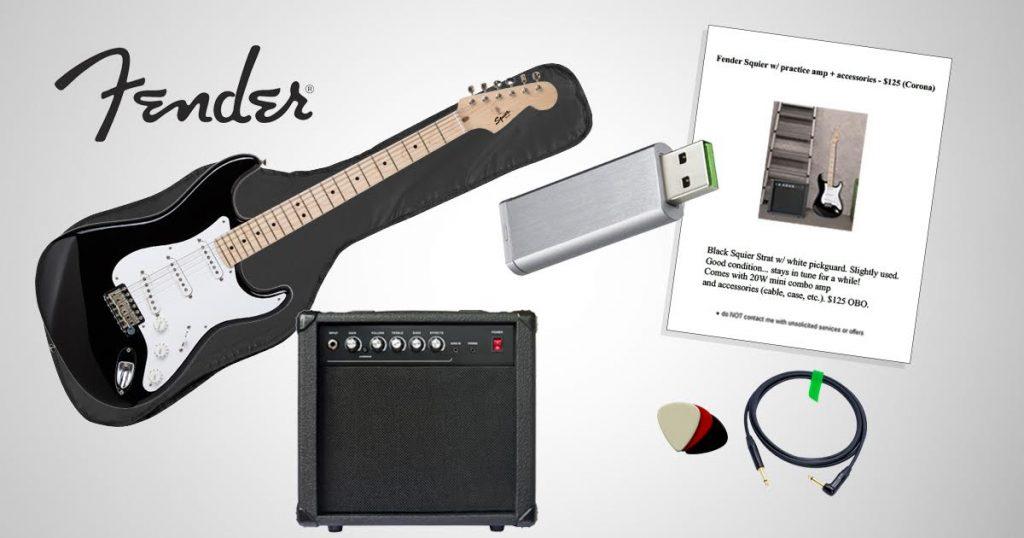 fender to include craigslist for sale ad in all stratocaster starter packs. Black Bedroom Furniture Sets. Home Design Ideas