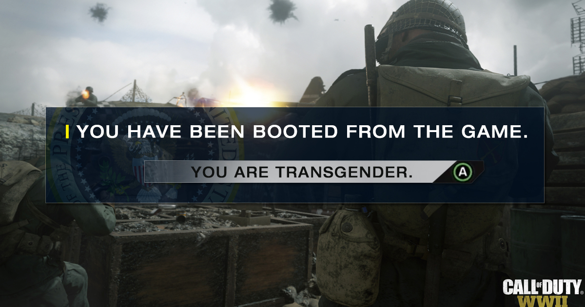 New Call Of Duty Will Feature Transgender Option That Immediately Bans You From Game
