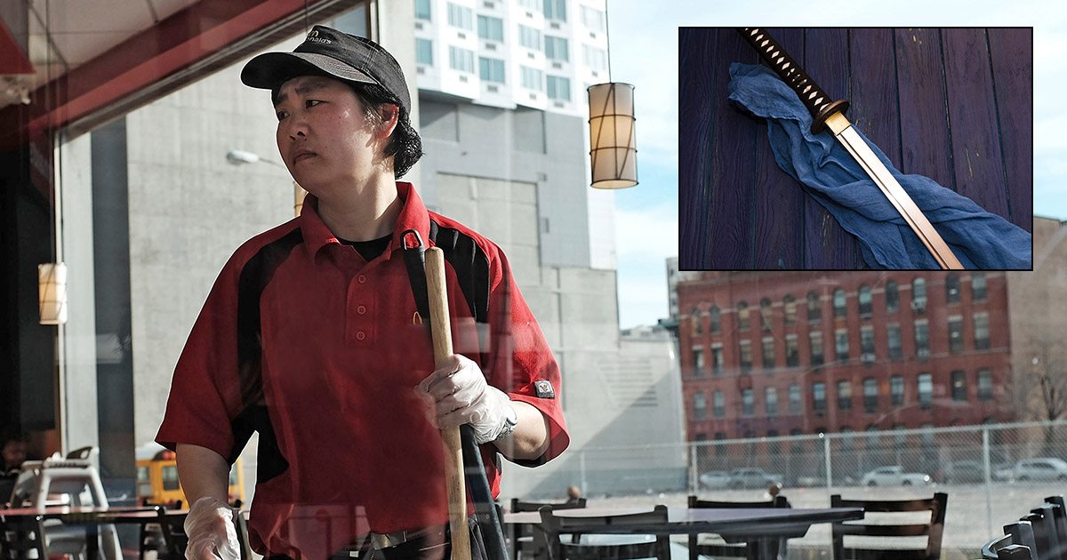 Man Grinding Out McDonald's Shifts to Afford Cool New Sword