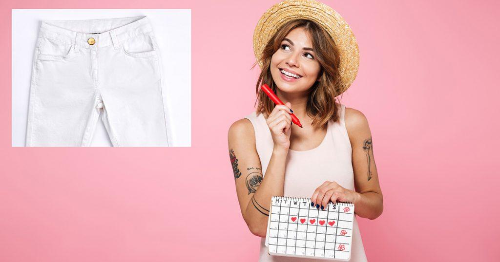 period, pants, white, white pants, time