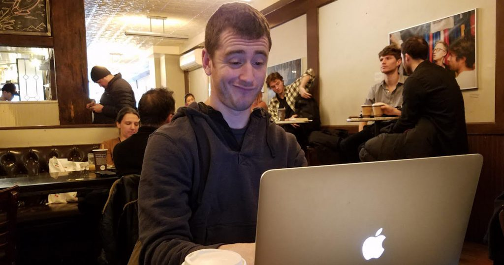 blogger, smirks, laptop, smug