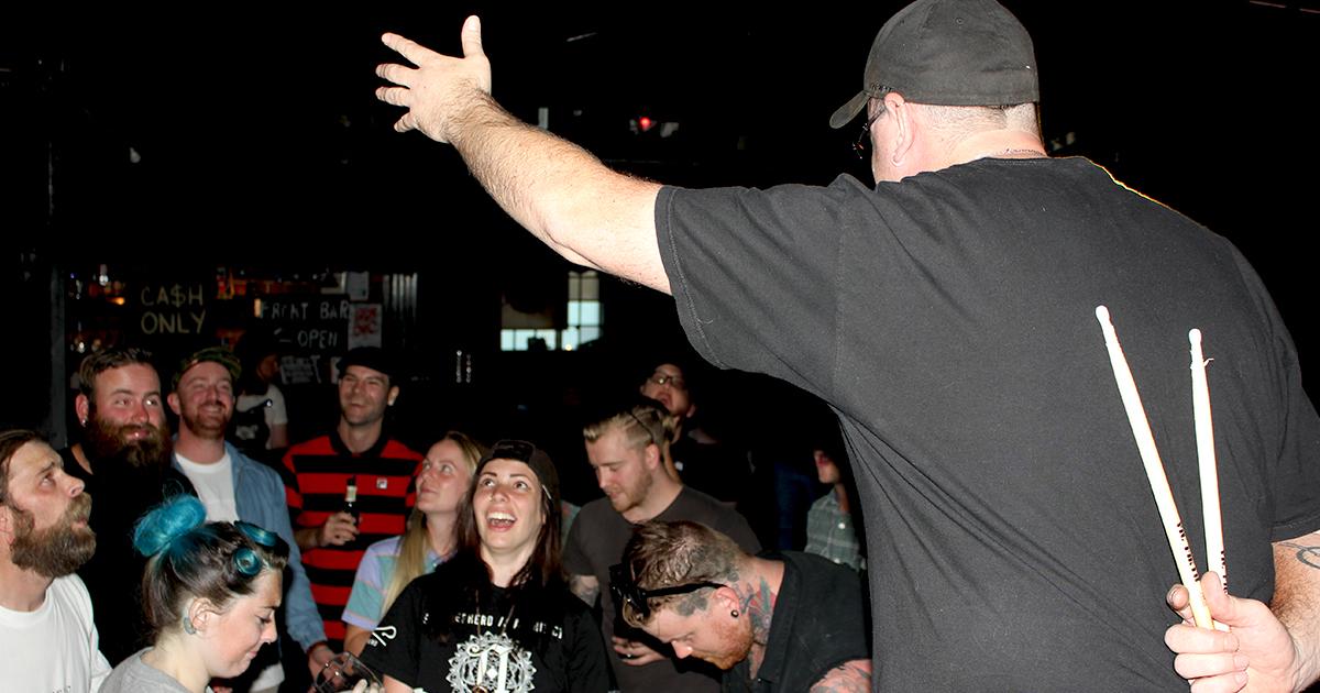 sticks, drummer, drums, confused, crowd, audience
