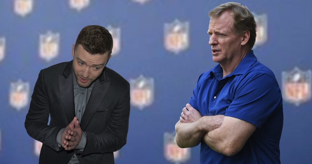 justin timberlake, roger goodell, nfl, super bowl, patriots, eagles, LII, halftime show, football