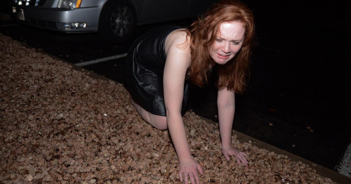 drunk, girls, falling, gravel