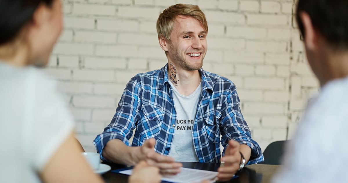 neck, tattoo, job interview