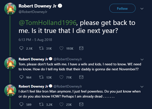 Tom Holland Accidentally Spoils Exact Date Of Robert Downey Jr's Death