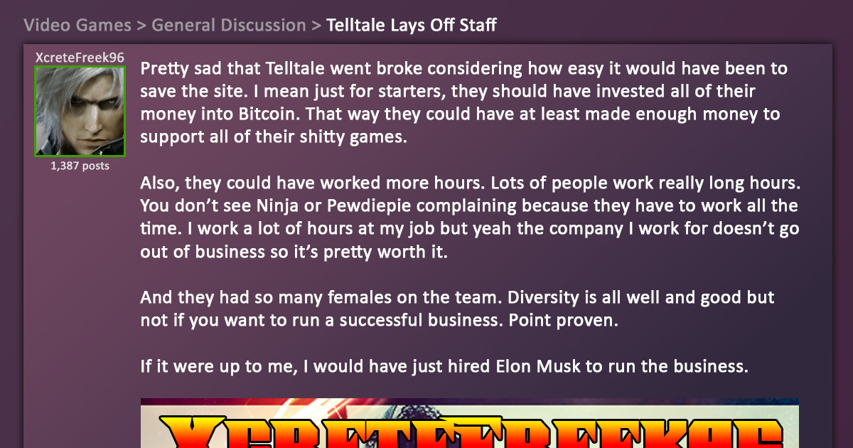 Tragic: Guy on Message Board Could Have Saved Telltale