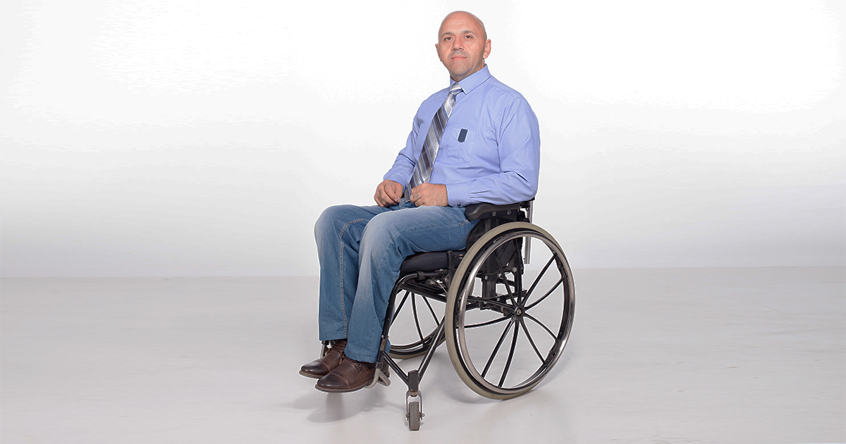 bald guy in wheelchair not sure what to be for halloween