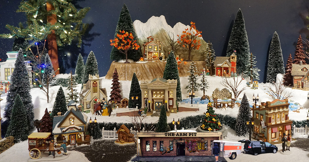 Christmas Village Display.Punk Grandma Adds Tiny Venue To Christmas Village Display