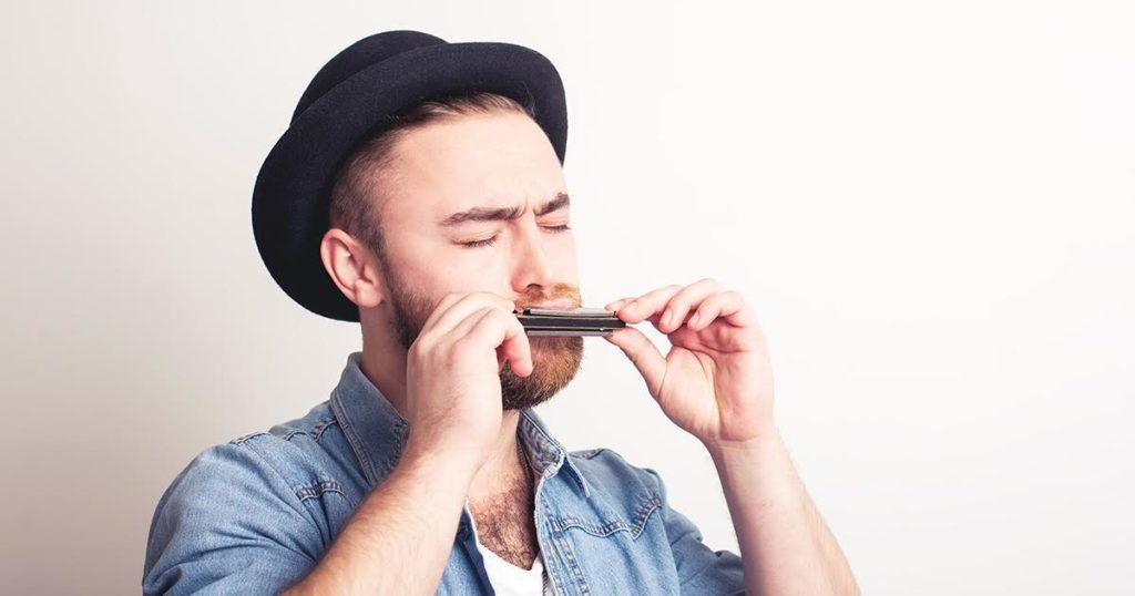 hat, harmonica, guy