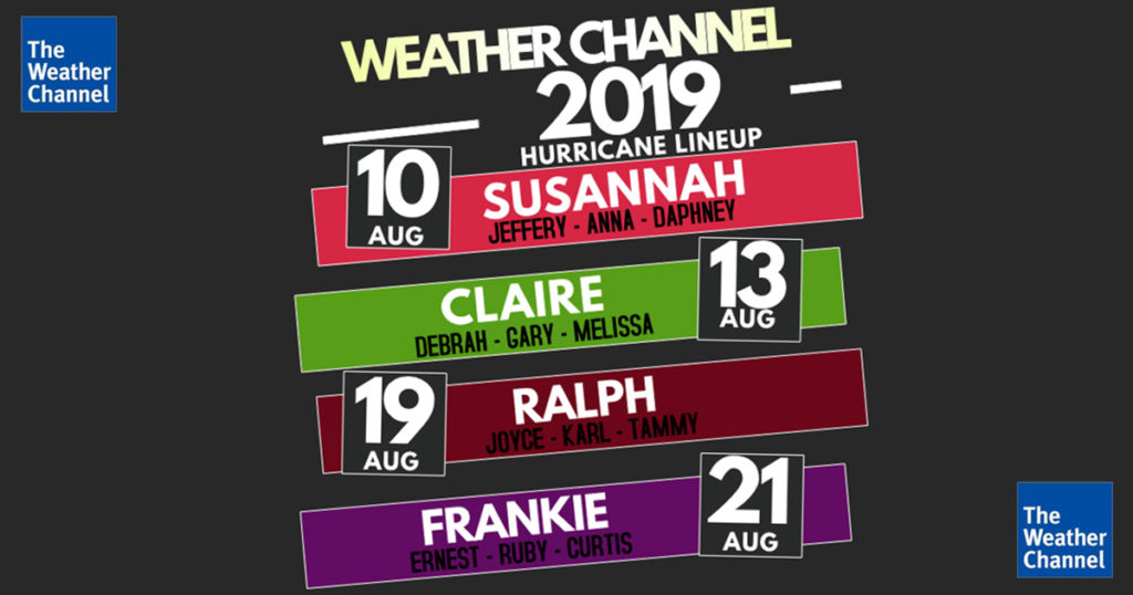 weather channel, hurricane, lineup