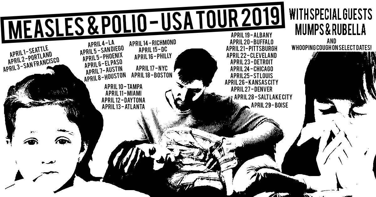 measles, polio, tour