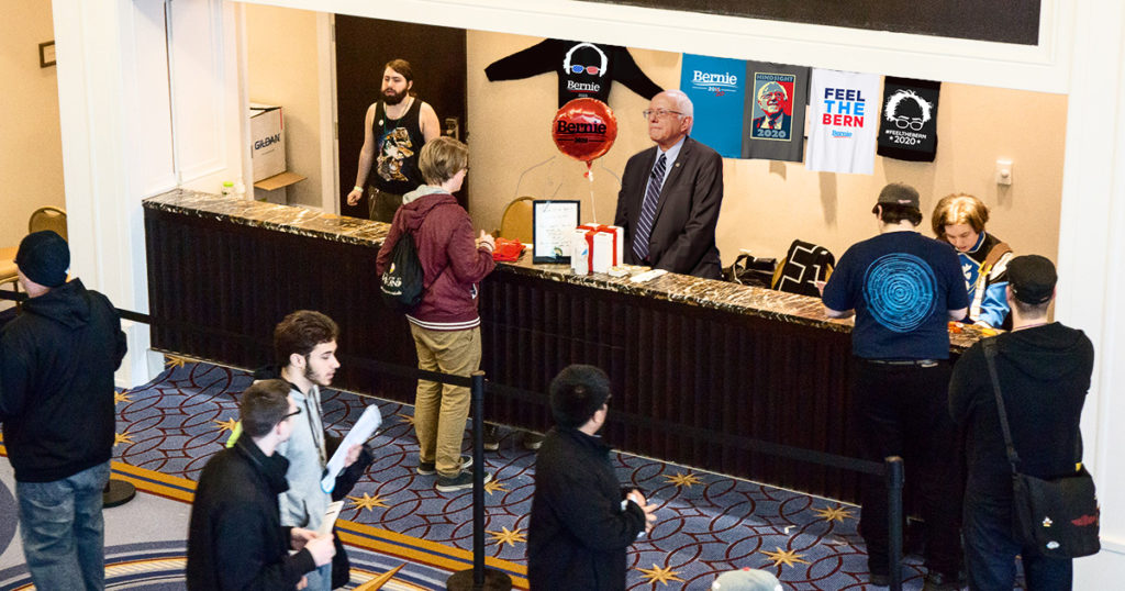 bernie sanders, merch, table
