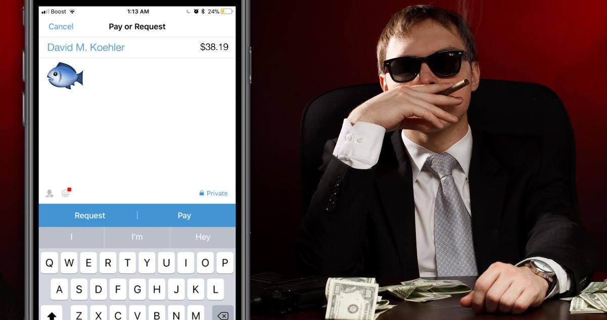 mobster, texting, emoji