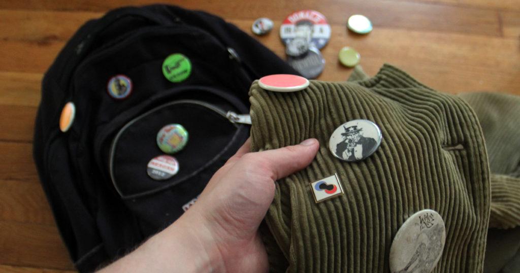 punk, pins, migration, backpack