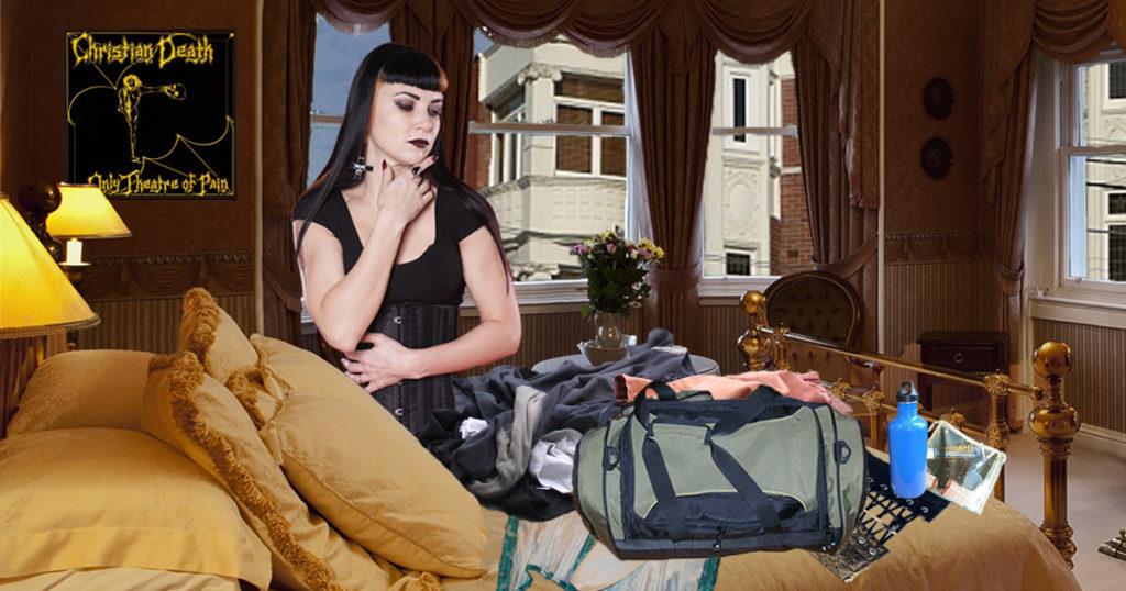 goth, corset, camping, trip, pack