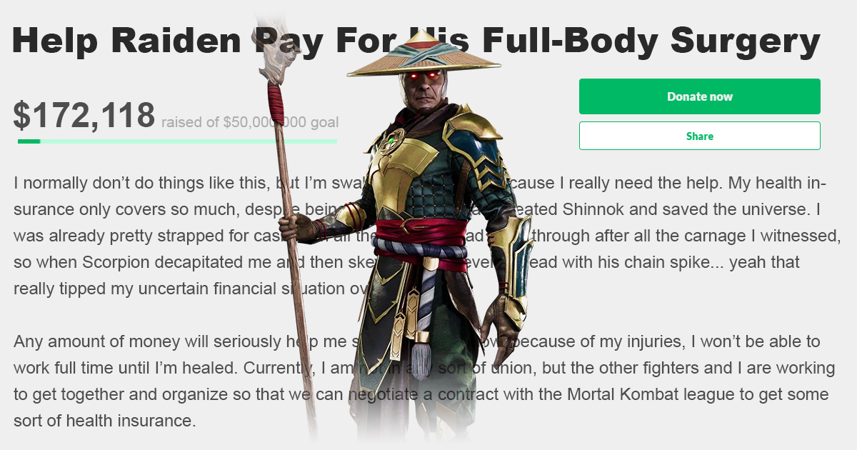 Raiden Launches GoFundMe Campaign to Pay For Medical Expenses