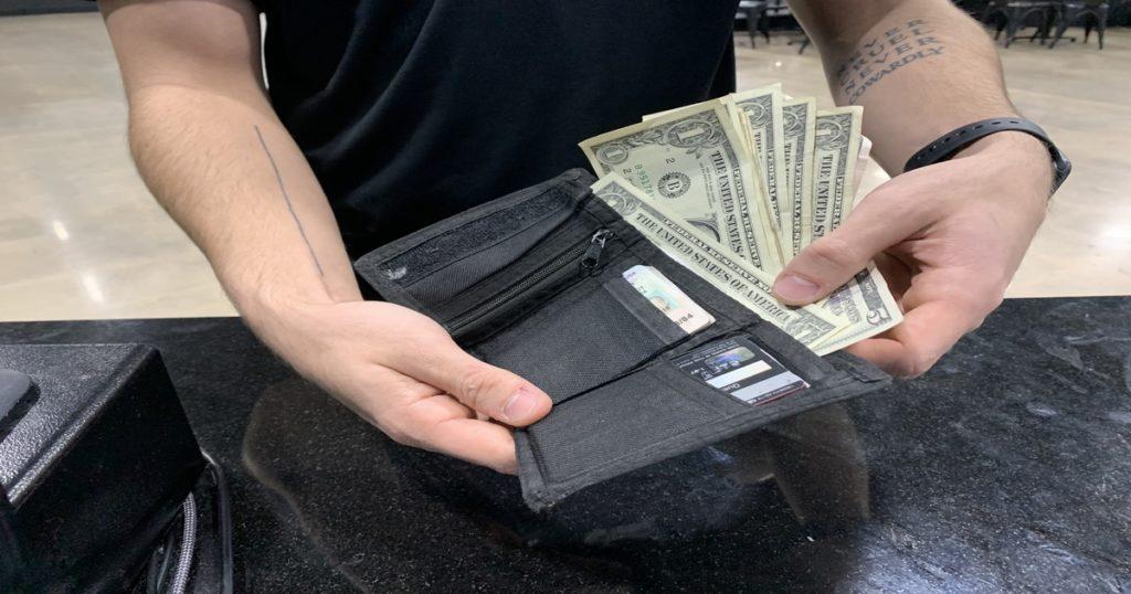 velcro, wallet, change
