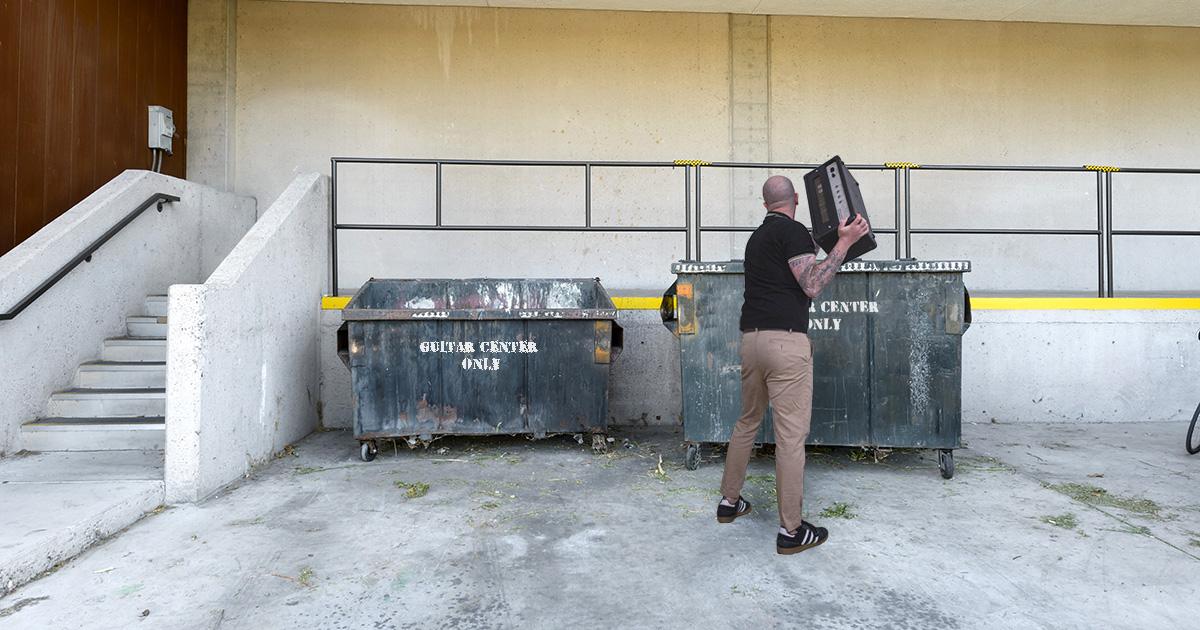 guitar center, unsold, dumpster