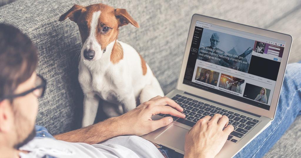 Myspace, dog, computer, man