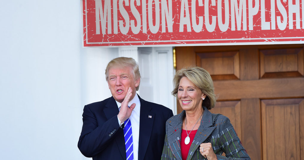 mission accomplished, trump, betsy devos, republican, democrat