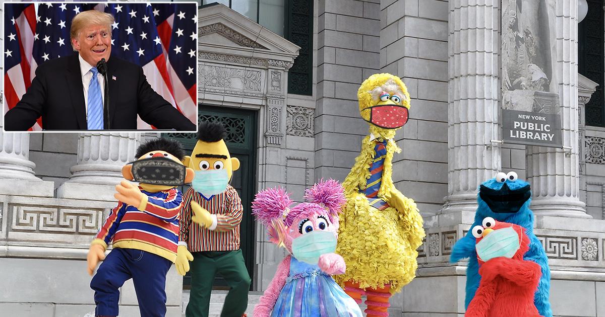 sesame street, coronavirus, trump, president