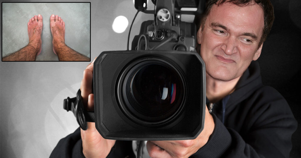 quentin tarantino, film maker, filming, feet