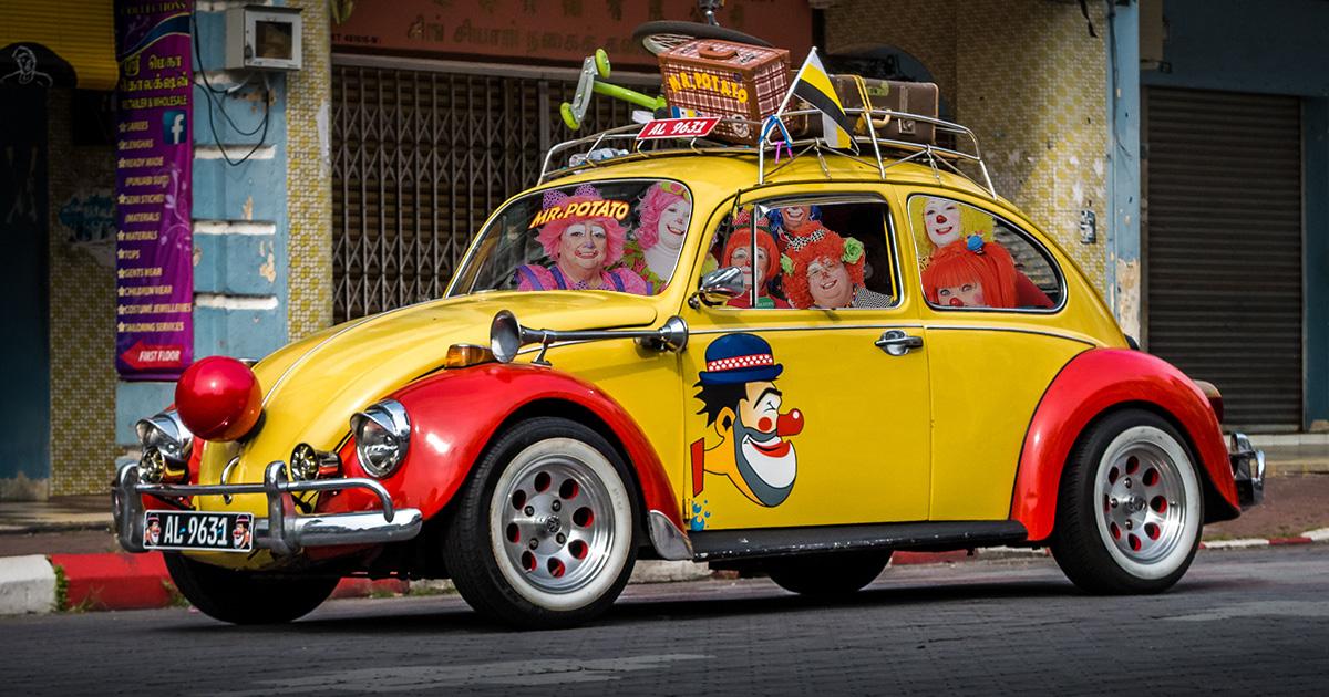 clown car, covid-19, spread, car, clowns, sick, pandemic, social distancing
