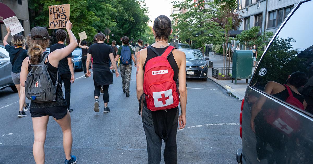 volunteer, medic, protest