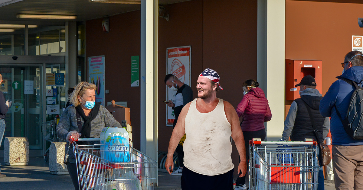 right wing, mask, shoppers, beer