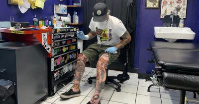 tattoos, tattooed, artist, upside down