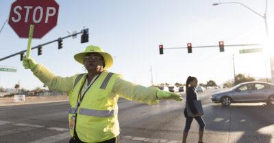 crossing guard, kids, street, neon, stop, stop sign, traffic