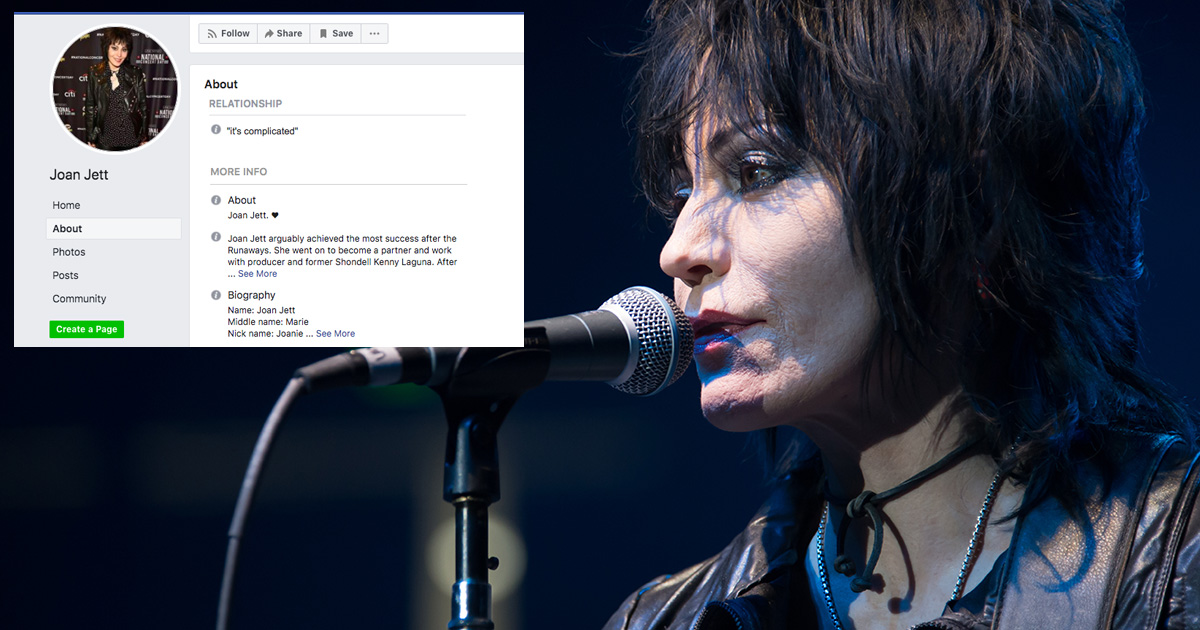 joan jett, relationship, rock'n'roll, complicated, facebook, status