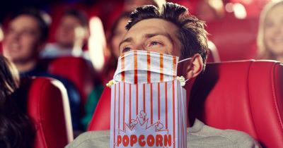 mask, amc, popcorn, theater