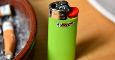 bic lighter, fire, green, plastic, homeless