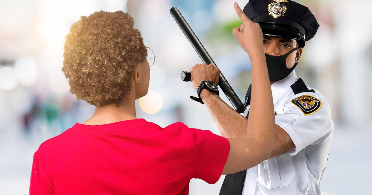 cop, protestor, left hand