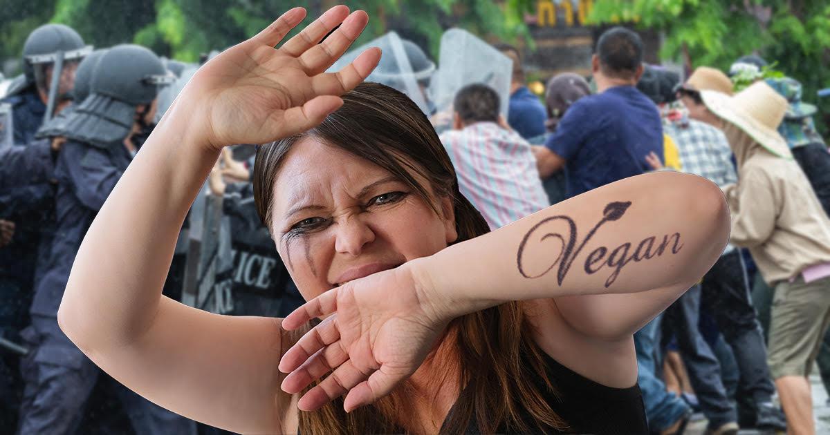 vegan, protester, milk, decline