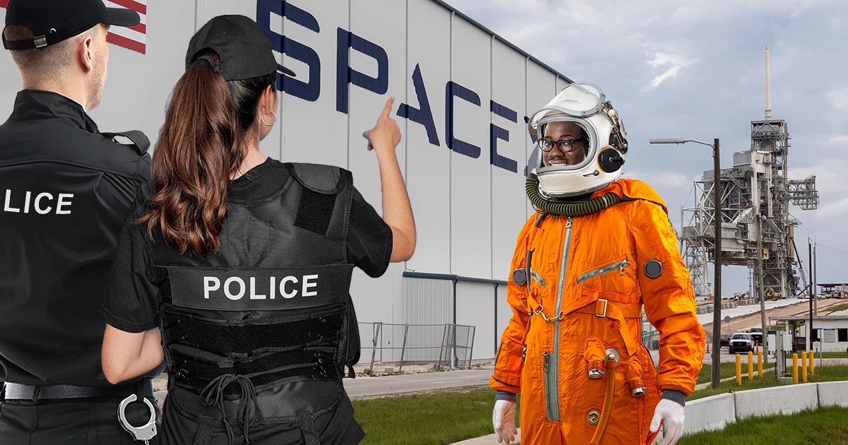 ship, space, rocketship, police, black astronaut, racist, profile, stereotype, blm
