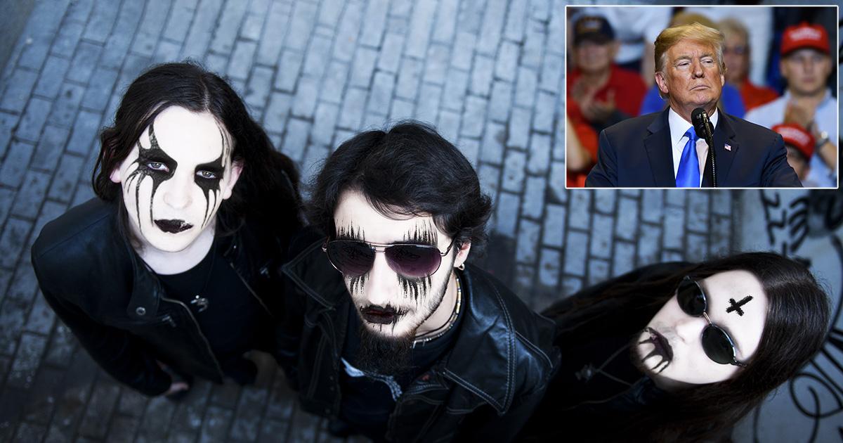 black metal, face paint, glasses, dark, back, white, trump, president, republican