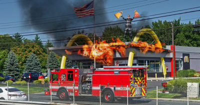 fire, fire truck, red, mcdonalds, gritty, burn down, scary, american flag, america, fast food