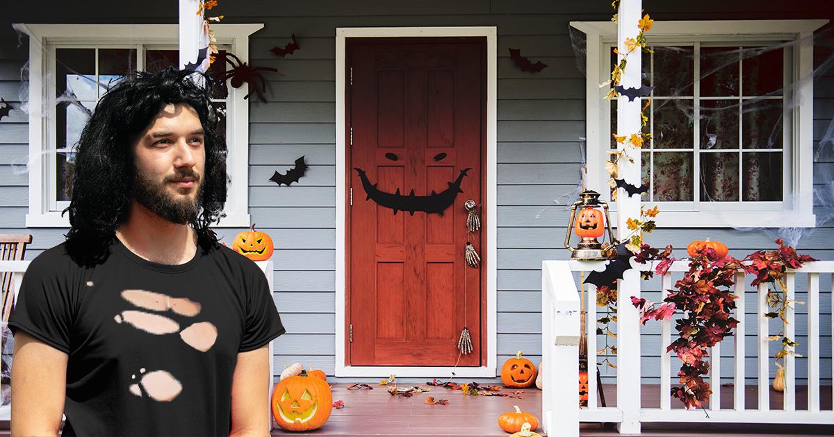 danzig, misfits, house, orange door, halloween, diy, cheap, decoration, bats