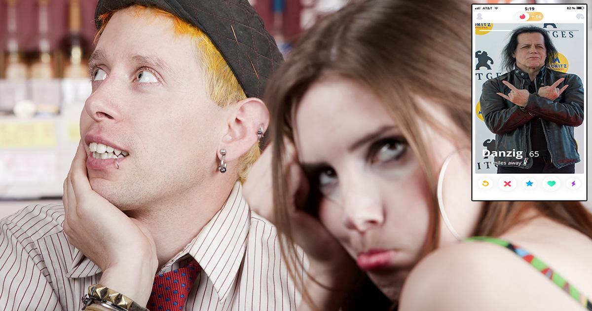 danzig, emo, punk, yellow hair, piercing, beanie, date, tinder, liar, sad