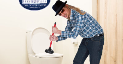 oval office, plunge, hat, glasses, long hair, plunger, poop, toilet paper, flannel, washed up