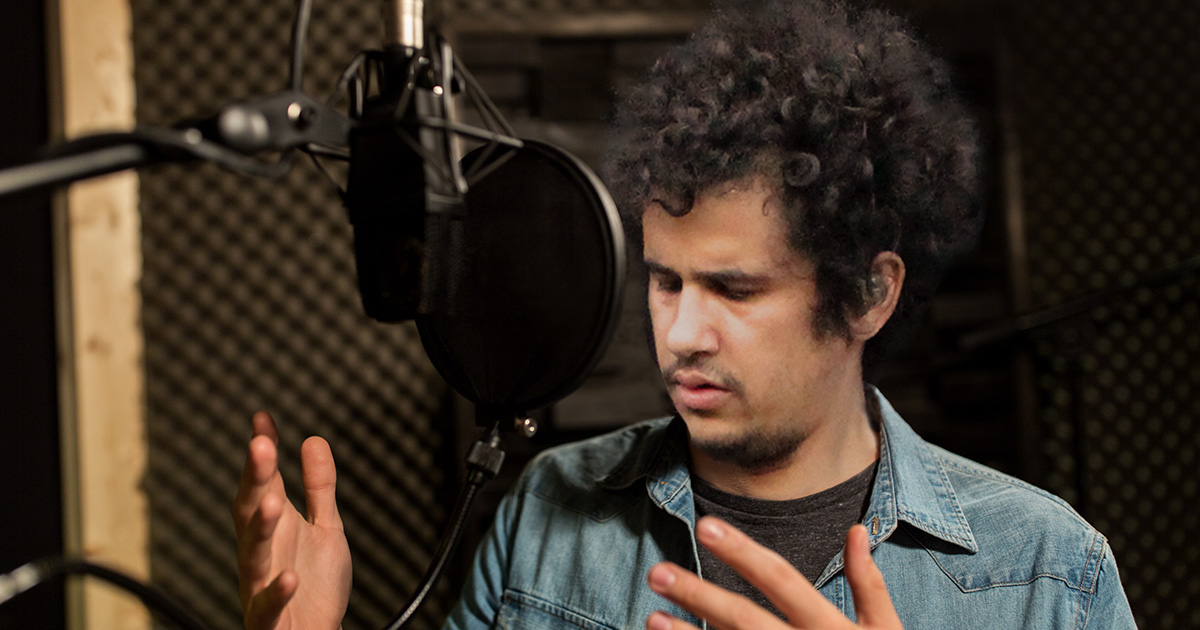 studio, microphone, curly hair, sing, sound proof, record, recording studio