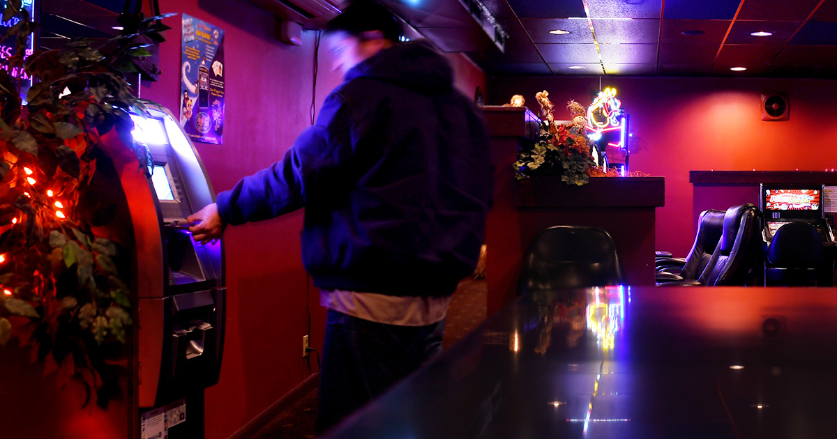 atm, lights, bar, jacket, man, purple, money, withdrawal