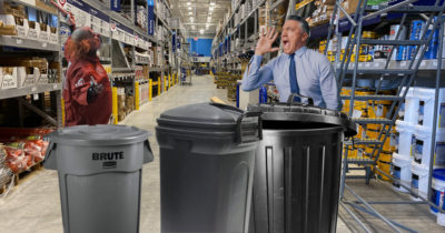 garbage can, plastic, metal, keg, baseball bat, manager, angry, tie, blue