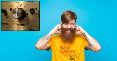 yellow shirt, blue, ginger, beard, amp, volume, guitar, marshal, spinal tap, old, ears